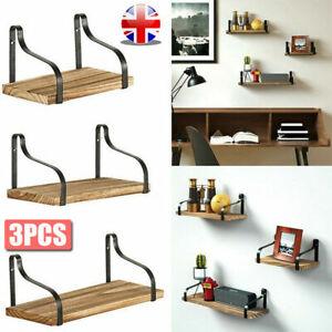 Set of 3 Rustic Floating Shelves Wood Wall Mounted Shelf Metal Display Rack Home