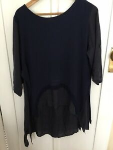 Made In Italy Navy Cotton Top Size 12