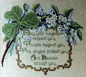Cross Stitch Pattern ST PATRICKS DAY Irish Blessing Shamrocks Flowers Verse