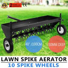 "Lawn Core Plug Aerator 40"" Pull Behind Ride On Mower 10 Spike Wheels  Best"