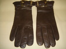 MICHAEL KORS Ladies Brown Leather Gold Tone Buckle Gloves - Size: XL