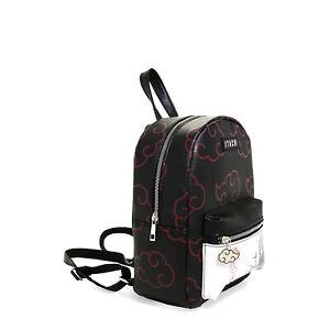 Naruto Akatsuki Cloud Print Itachi Artwork Vegan Leather Mini Backpack w/ Charm