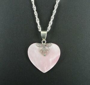 Pink Mother of Pearl Abalone Heart Pendant Sterling Silver 925 Chain NECKLACE