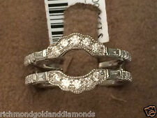 White Gold Baggette Round Diamonds Solitaire Wrap Ring Guard Enhancer Milgrain