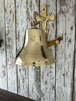 "8"" Brass Anchor Bracket Ship Bell w/ Rope Lanyard ~ Nautical Maritime Wall Decor"