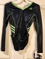 WAS $81.99! ADIDAS LS BLACK GREEN GYMNASTICS LEOTARD SWAROVSKI CRYSTALS Child L