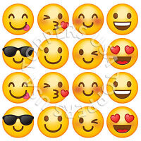 16x EDIBLE Emoji Smiley Faces Cupcake Toppers Wafer Paper 4cm (uncut)