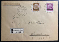 1940 Germany Luxembourg Occupation Registered Cover to Mannheim
