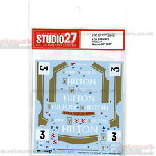 "1/24 1987 BMW M3 ""Hilton"" Macau Grand Prix #3 Decal Set par Studio 27 ~ DC1177"