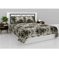 Indian Microfiber Queen Size Double bedsheet with 2 Pillow Covers -Ebony Ivory