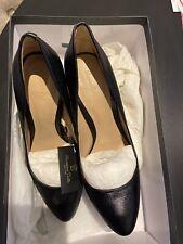 Ladies Massimo Dutti Black Leather Court Heels Size 36