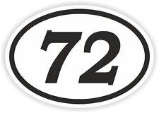 72 settantadue numero OVALE Adesivo Paraurti Decalcomania MOTOCROSS motociclo aufkleber