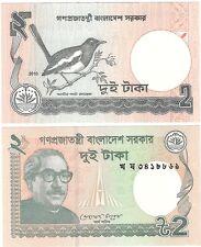 Bangladesh 2 Taka 2010 2011 UNC Uncirculated Banknote Set - 2 pcs - UK Seller