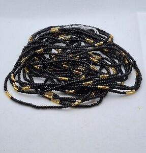 Tie On Waist Beads|Belly Chain|26 to 55 inches Available|Black And Gold