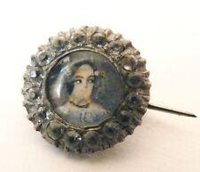 Broche 19e siècle en ARGENT avec peinture miniature et strass bouton silver