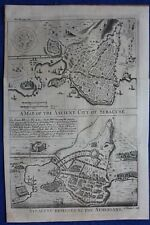 Original antique map SICILY, SYRACUSE BESIEGED BY THE ATHENIANS, Blundell, 1747