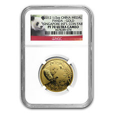2012 China 1/2 oz Gold Panda PF-70 NGC (Singapore Coin Fair) - SKU #75827