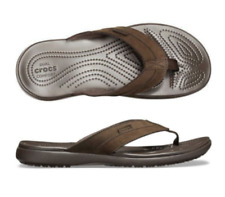 Men's CROCS Swiftwater Leather Flip Sandals Espresso Brown