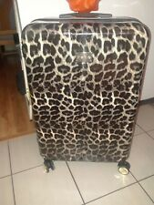 "BEBE ANIMAL PRINT HARD CASE SPINNER LUGGAGE- LINEAR 62"" GUC!"