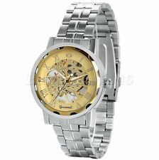 Men's Stainless Steel Band Skeleton Dial Hand-winding Mechanical Wrist Watch