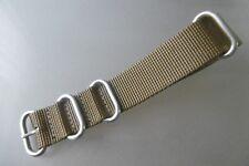 Nato Band Zulu Uhrenarmband Nylon khaki Rundringe 22 mm Edelstahl matt