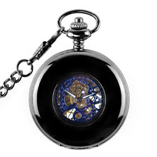 Vintage Mens Mechanical Blue Skeleton Steampunk Chain Pocket Watch