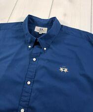 LA MARTINA Basicos Long Sleeve Button Up Shirt Blue Men's 3XL (US 2XL)  I66