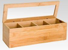 Legno di bambù Tea Bag Storage Box 4 Vano con coperchio in vetro Caddy Storage