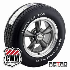 15 inch Wheels Staggered Gray Rims Tires for Chevy Camaro 67-81