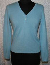 Cashmer Collection Fiftynine Bloomingdales 100% Womens Sweater Sz S V-neck Blue