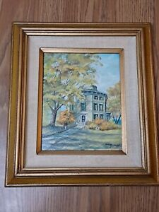 VTG Original Painting Of the Watertown Octagon House Signed by Audrey Kirchhoff