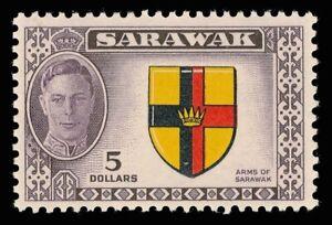 Sarawak 1950 KGVI $5 'Arms of Sarawak' MNH cat £35 ($47). SG 185. Sc 194.