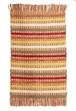 85% Cotton Vintage Mexican Esk Woven Weave Tassle Rug Red Green Ochre Cream