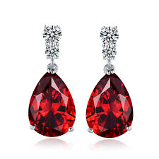 HUCHE Red Sapphire Ruby Crystal Silver Dangle Lady Banquet Daily Party Earrings