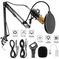 Usb Condenser Microphone w/ Arm Stand For Game Chat Audio Recording Computer