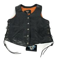 NEW Vance Leathers Vest Womens L Black Snap Biker Lace Up Sides Mesh Liner FLAW