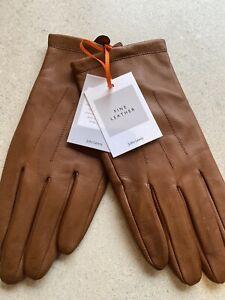 LADIES GLOVES Fleece Lined LEATHER John Lewis TAN BROWN S/M BNWT Xmas Gift
