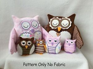 PATCHWORK / QUILTING APPLIQUE BARN OWL DOORSTOP/SOFT TOY SEWING PATTERN by Gail