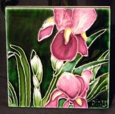"Ceramic Art Tile 4X4"" Iris Multi Color Floral Art Hand Painted Wall Decor"