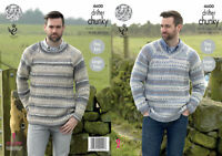 King Cole Mens Chunky Knitting Pattern Easy Knit Round or V Neck Sweater 4600