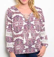 Size 3X SHIRT TOP Womens Plus 3/4 SLEEVE White Purple Red PAISLEY FLORAL 3XL