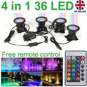 4 Lights RGB LED Underwater Spot Light Aquarium Garden Pond Lamp With Remote