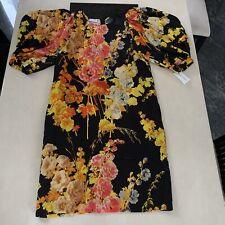 Dries Van Noten Viscose-Satin Floral-Print Midi Dress & Ruched Sleeves. FR 40/12