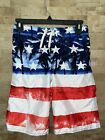 OLD NAVY Boy's Size XL 14-16 Red White Blue Patriotic Tropical Swimsuit Trunks