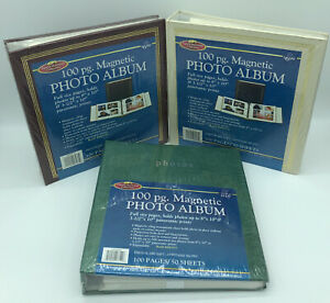 Lot 3 Photo Album Book 100 Page 50 Sheets Magnetic Binder Family Heirloom NOS