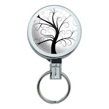 Tree of Life Metal Retractable Reel ID Badge Key Card Holder with Belt Clip