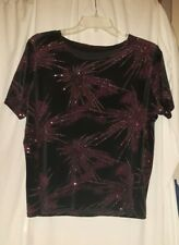 Ladies Black Curvy glittery sparkley bling top size M. 42 inch bust. 170428