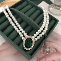 Green Pendant Charm Pearl Choker Double-Layer Necklace For Women, Lovers Gifts