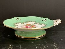 Antique English Porcelain Pierced Apple Green Single Handle Footed Platter