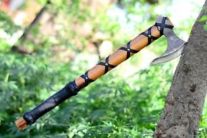 Custom Hand Forged Carbon Steel Viking Axe with Leather Sheath, Birthday Gift